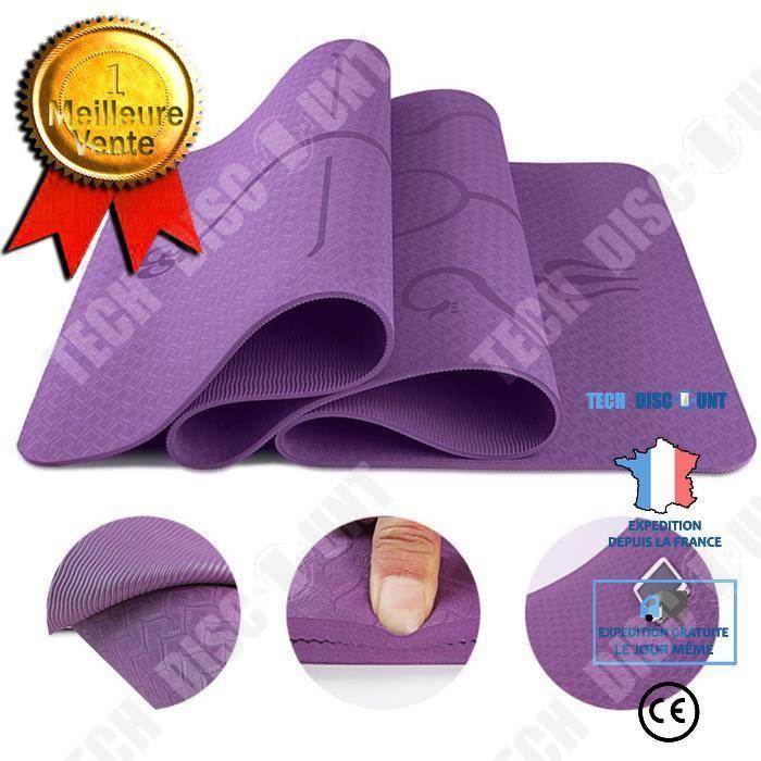 TD® Tapis Yoga -Tapis De Sport Fitness a La Maison -Tapis de Pilates,Poids léger,Antidérapant 183 * 61 * 0,6 cm violet foncé