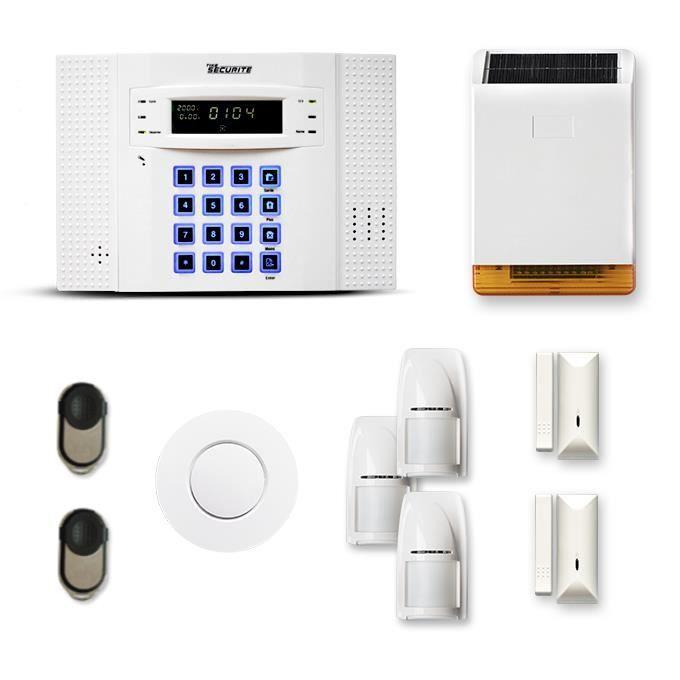 Alarme maison sans fil DNB 2 à 3 pièces mouvement + intrusion + détecteur de fumée + sirène extérieure solaire - Compatible Box inte