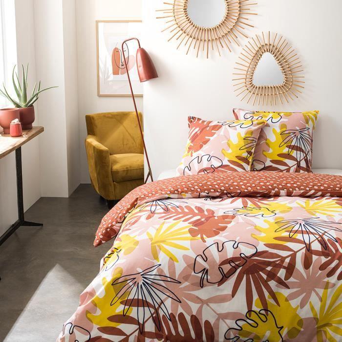 Parure de lit 2 personnes 220X240 Coton imprime rouge Floral SUNSHINE