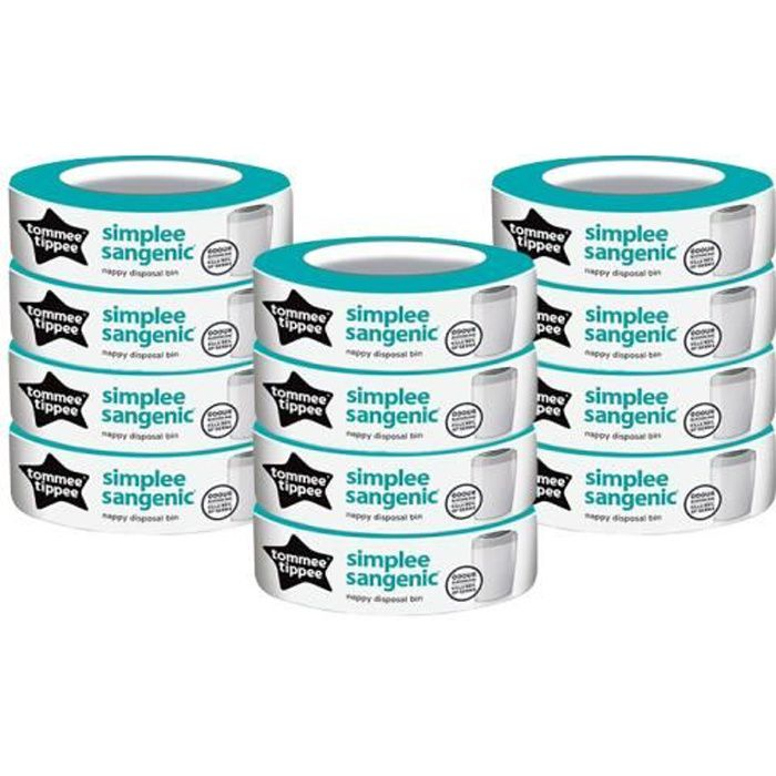 Sangenic SIMPLEE recharge Tommee Tippee recharge poubelle Sangenic Simplee (Lot de 12)