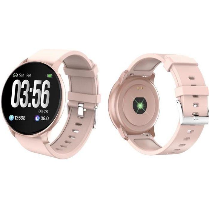 SF+ Montre connectée - Smartwatch élégante - Multisports - Cardio - Bluetooth - Waterproof - Rose Gold