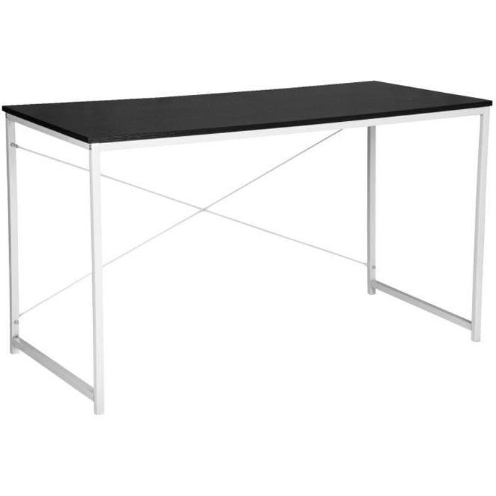WOLTU Bureau d'ordinateur, Table de bureau en bois et acier, Table de travail, 120x60x70 cm, Noir