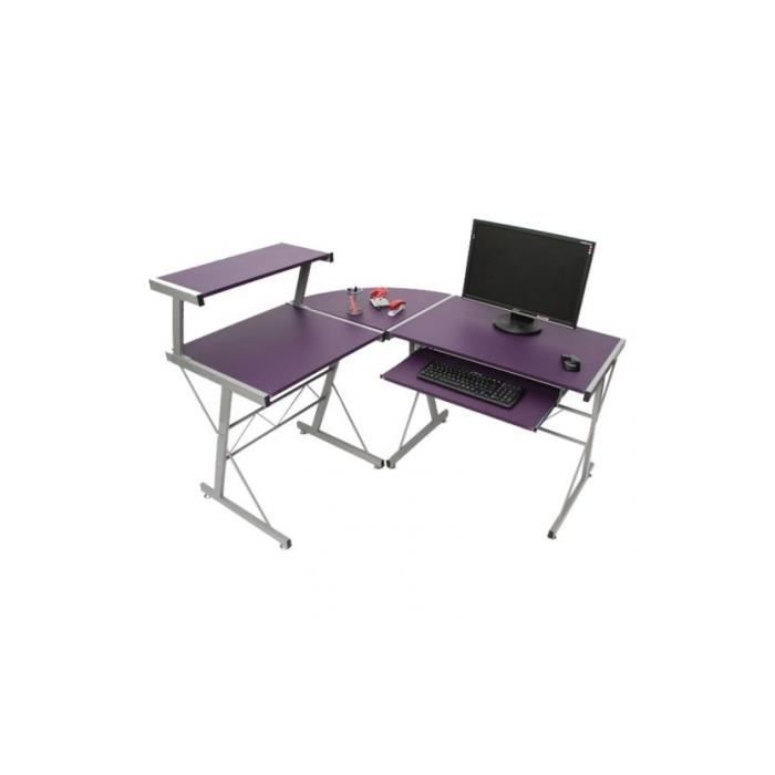 desserte informatique bureau nevada 100x115x140cm agglom r violet achat vente meuble. Black Bedroom Furniture Sets. Home Design Ideas