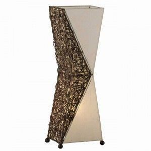 lampe sur pied lampadaire rotin tissu bambou 27x17x80cm. Black Bedroom Furniture Sets. Home Design Ideas