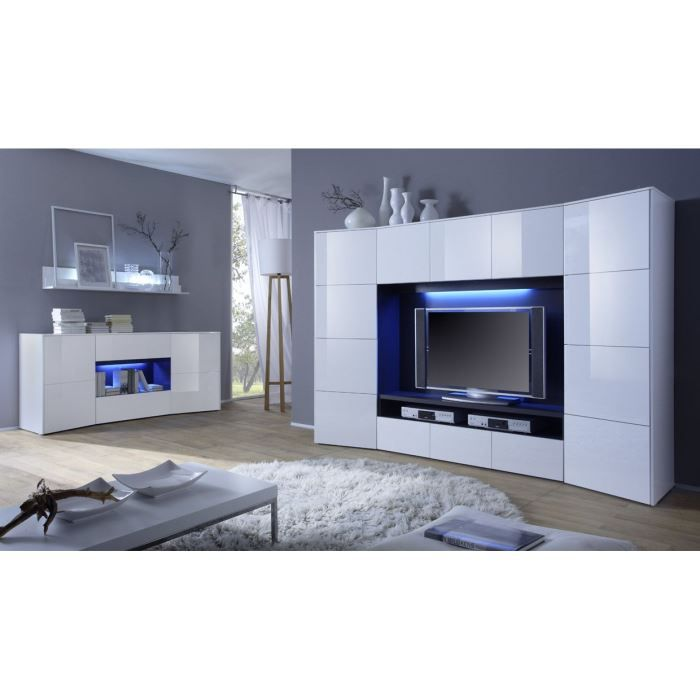 Meuble tv wave 279 design laqu blanc avec c achat for Meuble tv wave