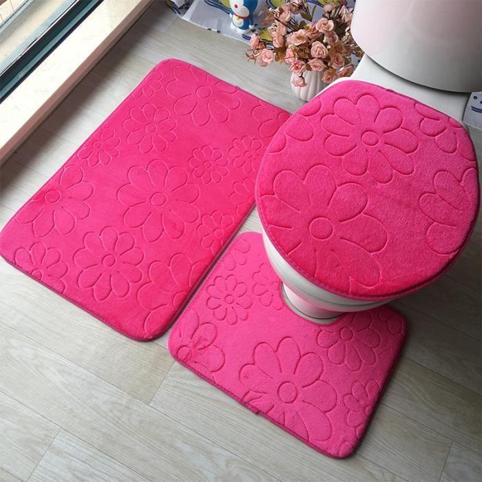 TAPIS DE BAIN  3pcs - set flanelle gaufrage tapis tapis de couver