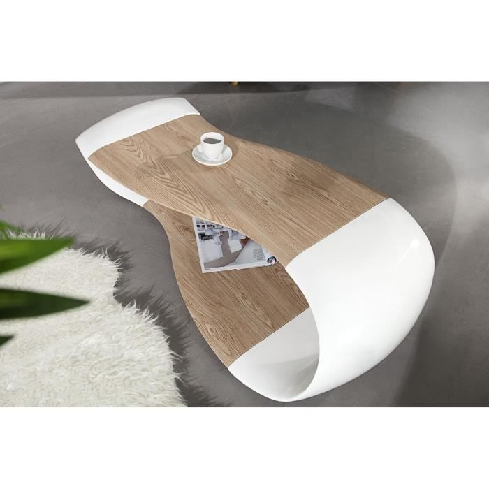 Table basse design strimo bois et blanc achat vente for Table basse bois design