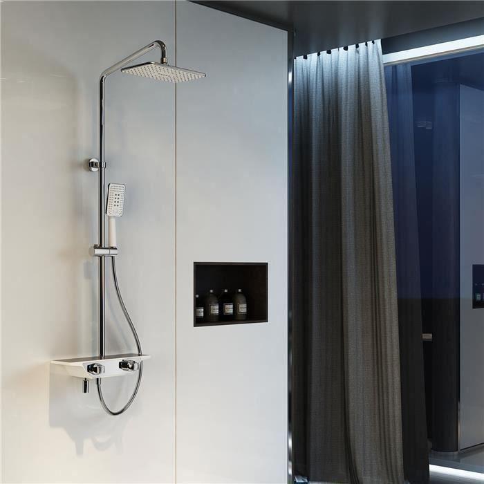 système de douche thermostatique avec plateau de rangement