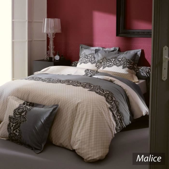 housse de couette 260x240cm 100 coton malice achat. Black Bedroom Furniture Sets. Home Design Ideas