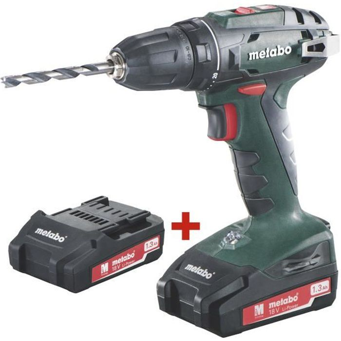 Perceuse-visseuse sans fil - METABO - BS 18 2X1,3Ah