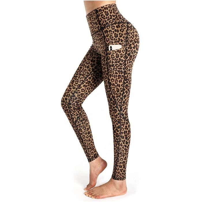 Femmes Marron Imprimé Léopard Leggings Plus Taille Stretch Ceinture Élastique