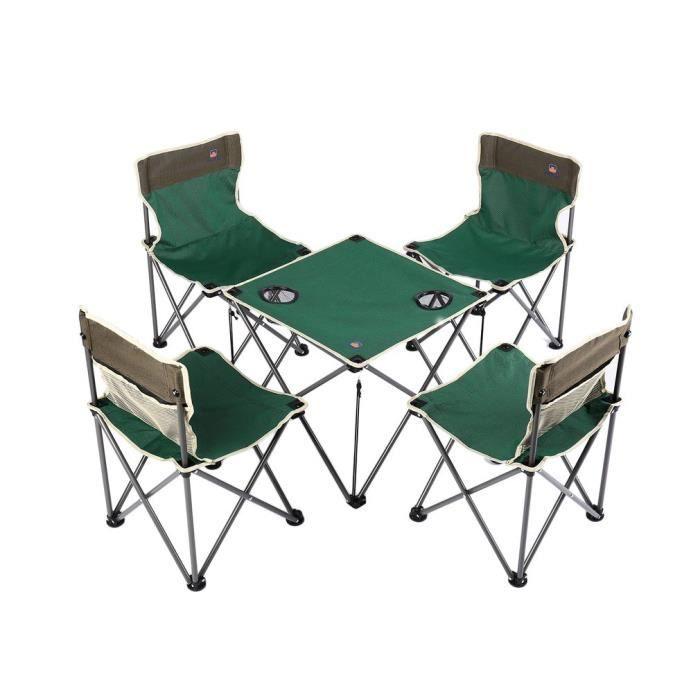 Table pliante Table de pique-avec 4 sièges Ensemble De Sièges Jardin Camping Extérieur 820