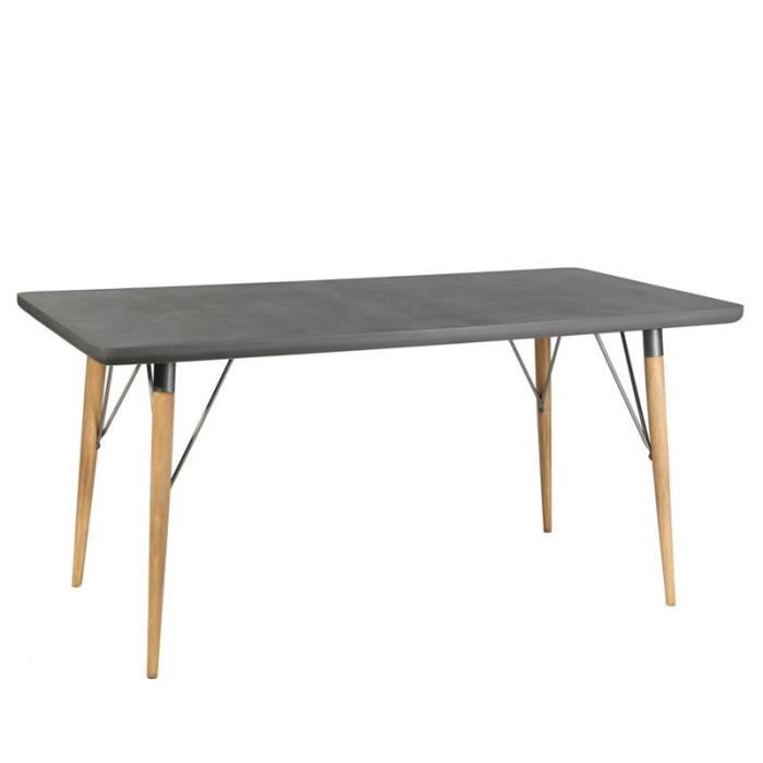 table a manger bois et beton achat vente table a manger bois et beton pas cher cdiscount. Black Bedroom Furniture Sets. Home Design Ideas