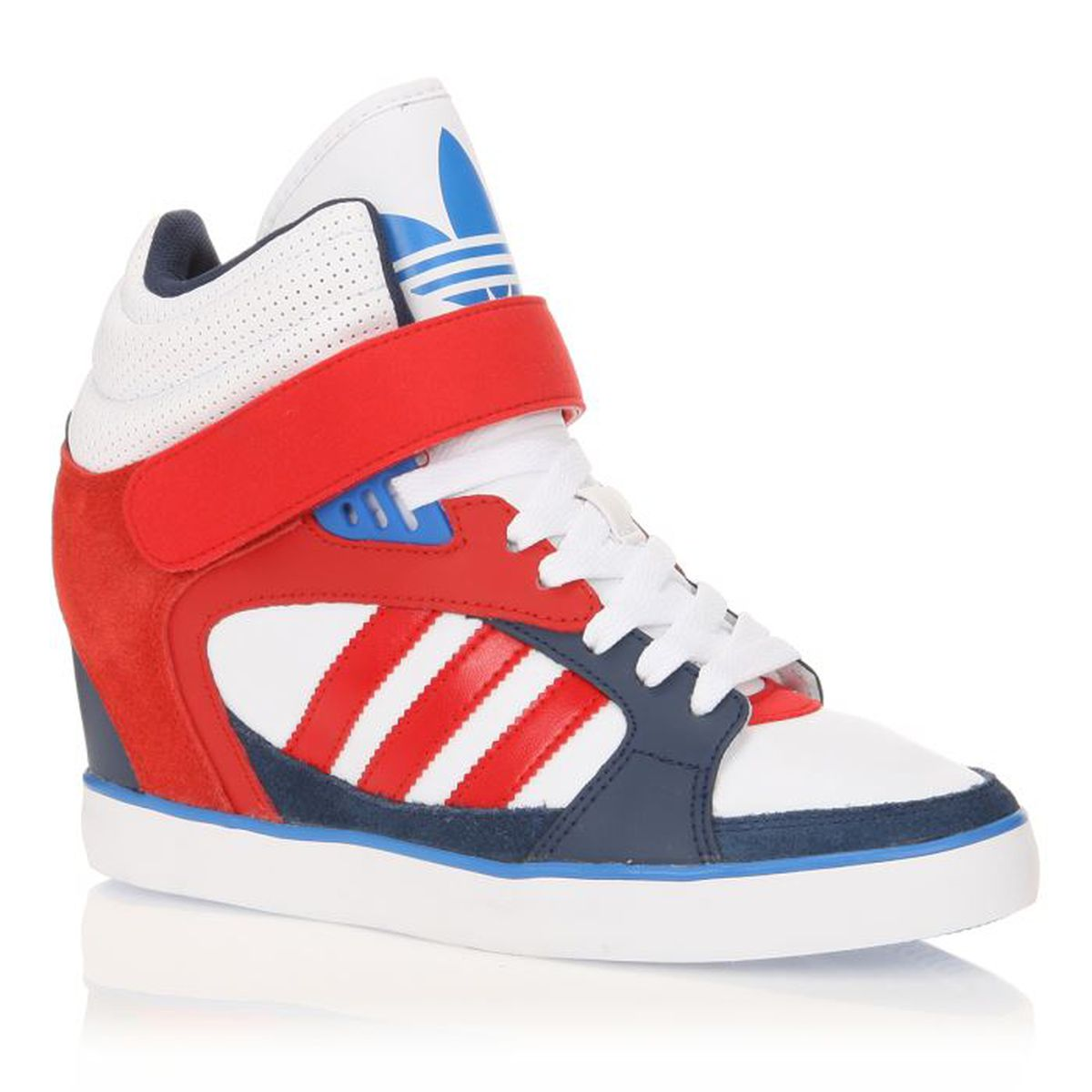 adidas baskets cuir amberlight heel w femme femme bleu blanc rouge achat vente adidas. Black Bedroom Furniture Sets. Home Design Ideas