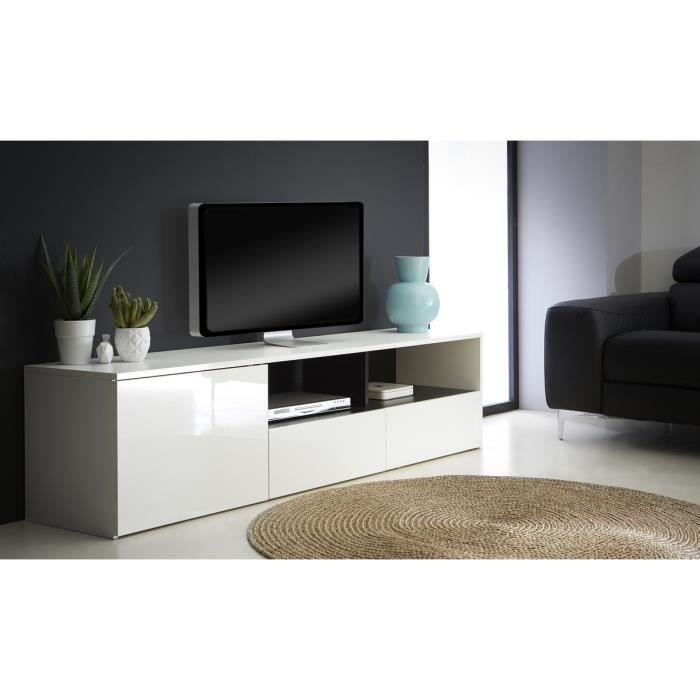 malia meubletv 182cm blanc brillant achat vente meuble tv malia banc tv 1p 2t structure. Black Bedroom Furniture Sets. Home Design Ideas