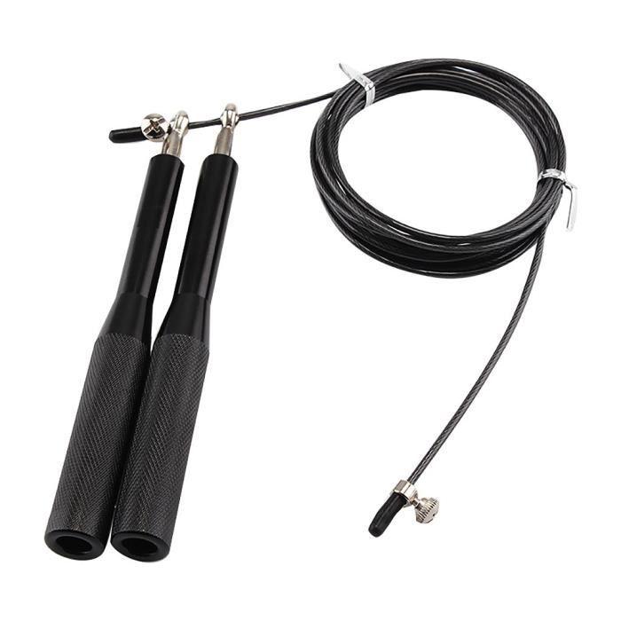 Corde à sauter de roulement à fil d'alliage d'aluminium de corde à sauter de poignée en aluminium Noir