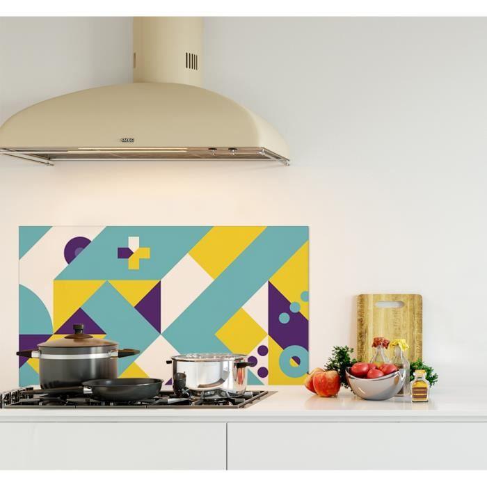 Crédence de cuisine adhésive en Panneau composite aluminium -Composition géométrique jaune, turquoise et violet style scandinave...