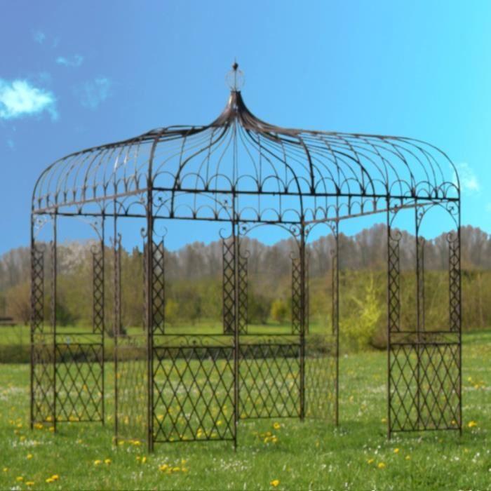 Grande Tonnelle Gloriette Fer de Jardin Carrée Marron 300 cm x 280 cm x 280 cm - 14307-Pergola
