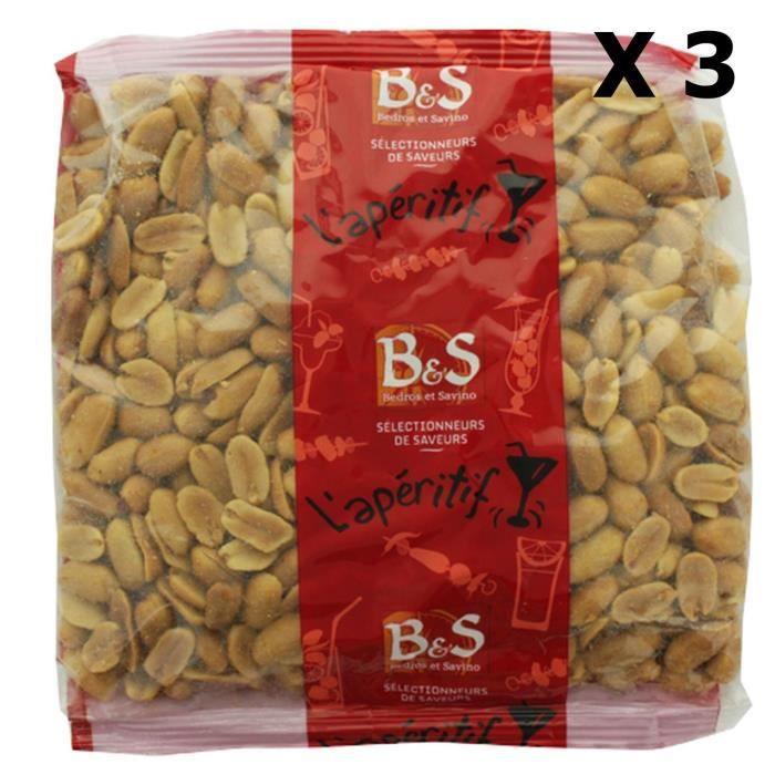 Lot 3x Arachides blanches grillées salées - B&S - paquet 500g