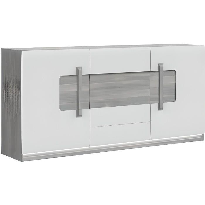 Buffet 3 portes blanc laqué et décor chêne gris avec éclairage LED - design contemporain - Collection ALEXIANE