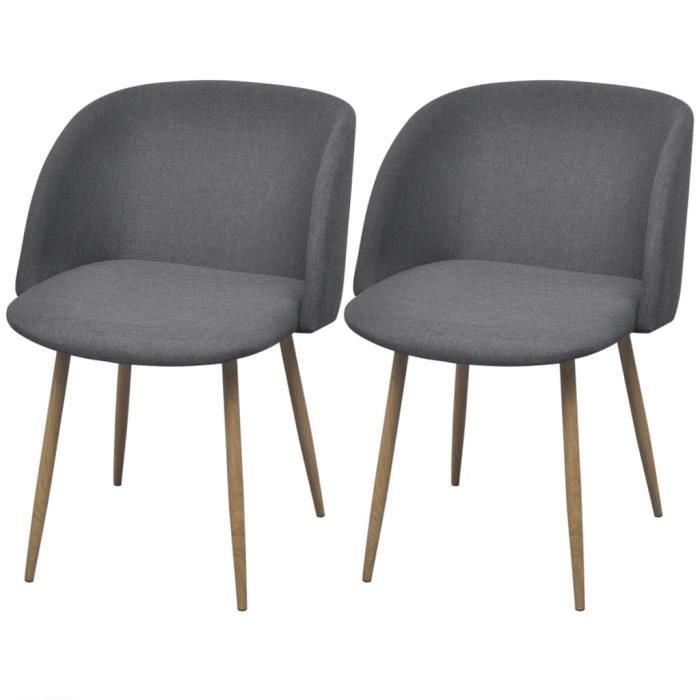 Lot de 2 chaises de salle à manger - Style contemporain Scandinave chaise Cuisine 2 pcs - Gris foncé Tissu Vintage��9084