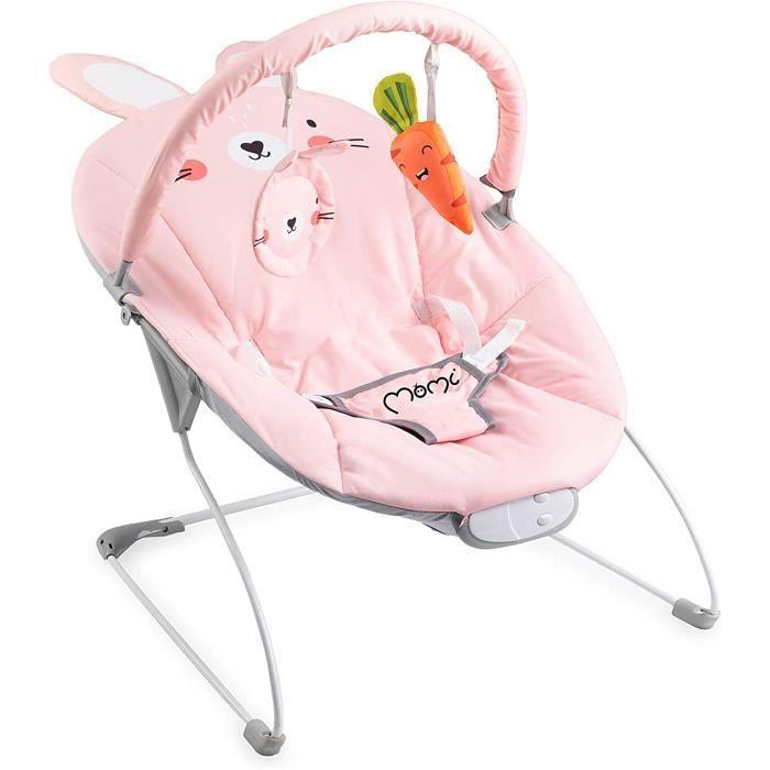 GLOSSY balancelle pour bébés jusqu'à 9 kg, rembourrage souple, cadre métallique, pieds antidérapants, ceinture - 1.7 kg, 58x49x53 cm