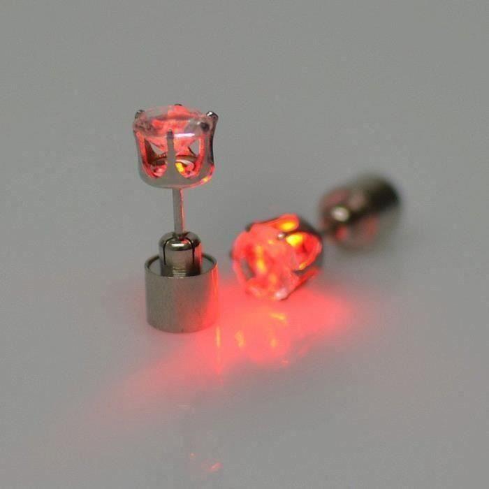 8Paire de Clous Boucles d  'oreilles orn&eacutes de strass Piercings d  'oreille lumineux à LED rouge