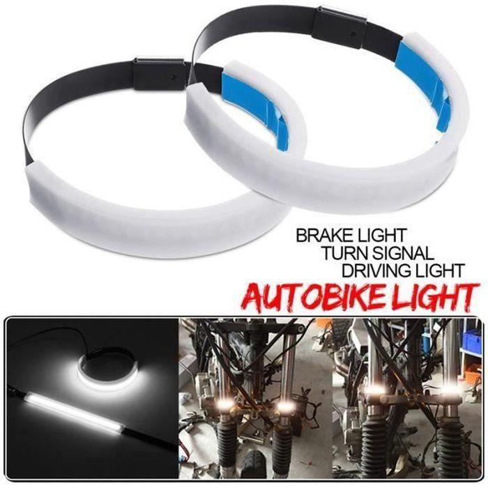 2Pcs Étanche Moto LED Bande Lumière DRL Feux Jour Clignotant 12V Blanc Bo50995