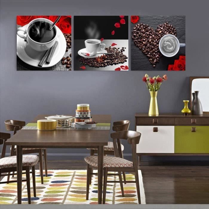 JAC8 Toile sans cadre Wall Art Pictures Home Decor 3 Pieces Grains De Café Peintures 40 * 40cm