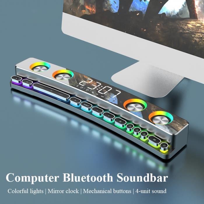 Haut-parleur de jeu sans fil Bluetooth 3600mAh Barre de son USB Subwoofer stéréo 3D AUX FM Horloge intérieure pour la maison Barre d