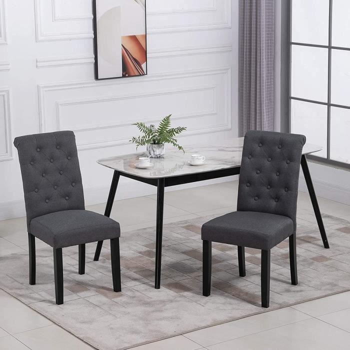 Lot de 2 chaises - Tissu Gris - L 47 x P 61 x H 100 cm