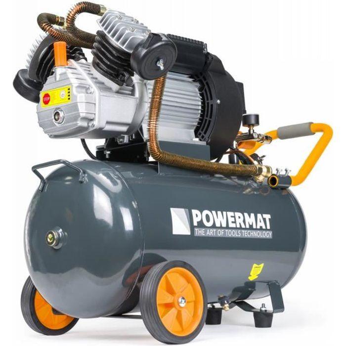 POWER TOOL - Compresseur à huile 8 bars + moteur de puissance 2,2 kW - Régime 2850/min - Outils pour construction/atelier - Gris