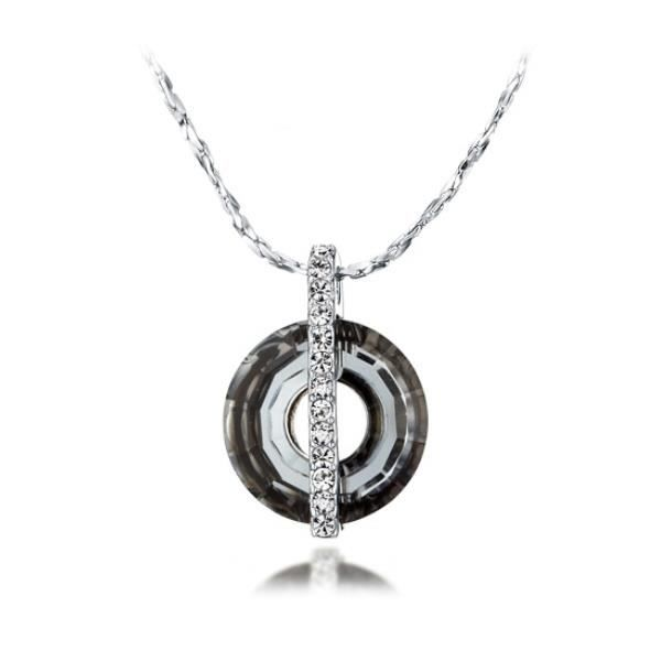 Pendentif Cercle Cristal de Swarovski Elements Black Diamond et Plaqué Rhodium