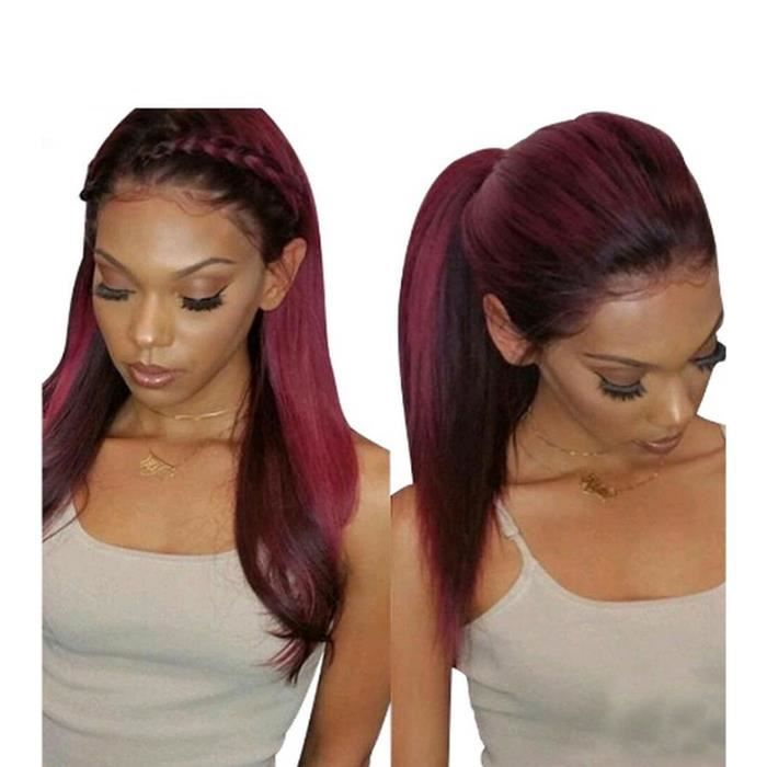 T1B/Bourgogne perruques cheveux humains avec des cheveux de bébé droit brésilien Remy cheveux ombre perruques Lace Front wigs-16inch