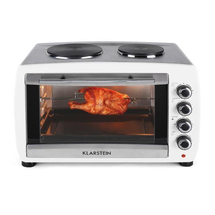 Klarstein Omnichef - Mini four de 45L avec nombreux accessoires et 2 plaques de cuisson (2000W, grill, broche) - blanc