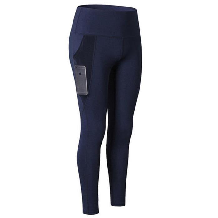 Taille Haute Femmes poche Entraînement à la Course à Pied Collants à Séchage Rapide Pantalon de Sport Legging Femme Yoga Bleu