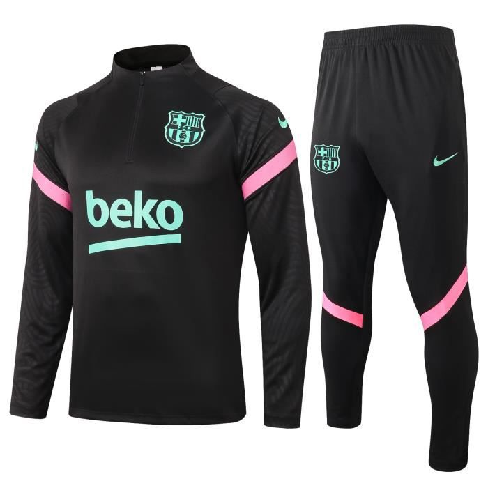 Survêtements Barcelona Barca - Maillot Football Homme Enfants Ensemble 2020-2021 Survêtements Training de Football - Noir