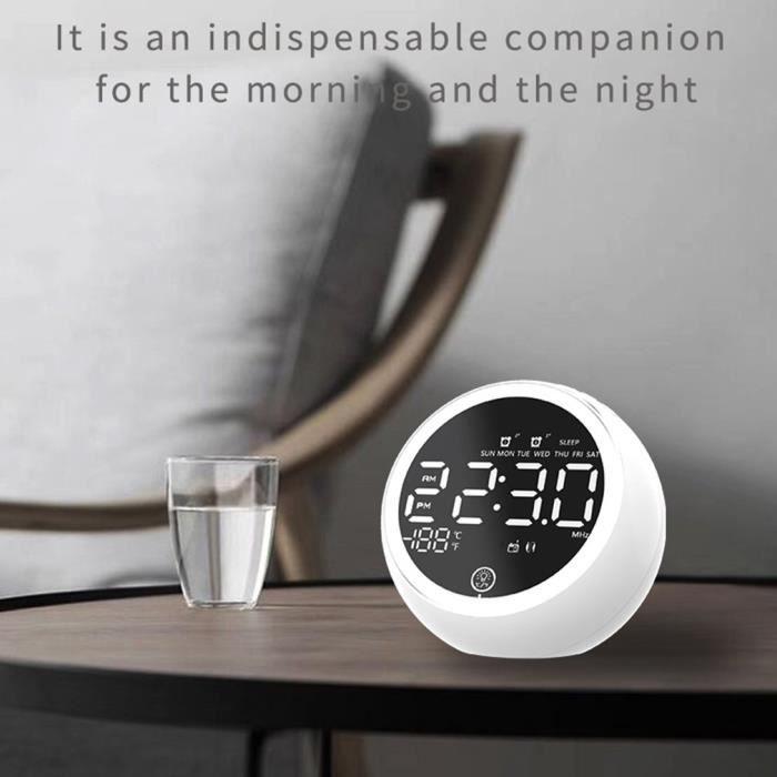 Haut-parleur de réveil Bluetooth de veilleuse multifonctionnelle lecteur de musique sans fil affichage miroir LED - Blanc