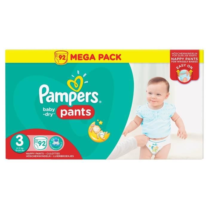 Pampers baby dry pants t3 6 11kg 92 couches culottes - Couches culottes pampers ...