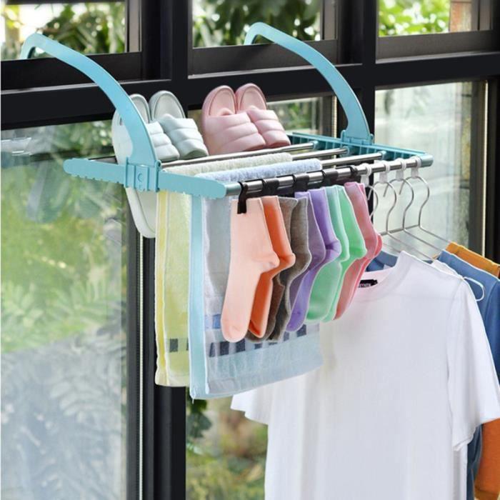 Balcon Séchage Rack Pliable Vêtements Chaussure Cintre Chaussette Chaussettes pour Fenêtre Appui (Couleur LAVE-LINGE SECHANT