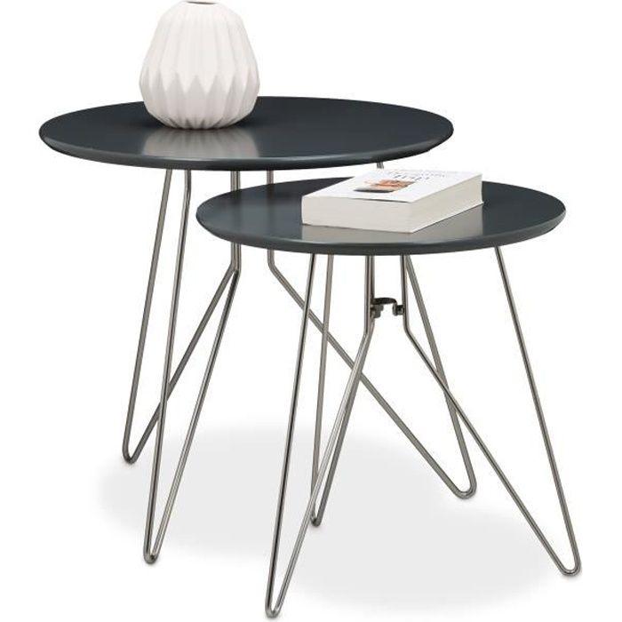 Relaxdays Table console table d'appoint canapé table basse gigogne lot de 2 design design moderne avec plateau rond en bois gris