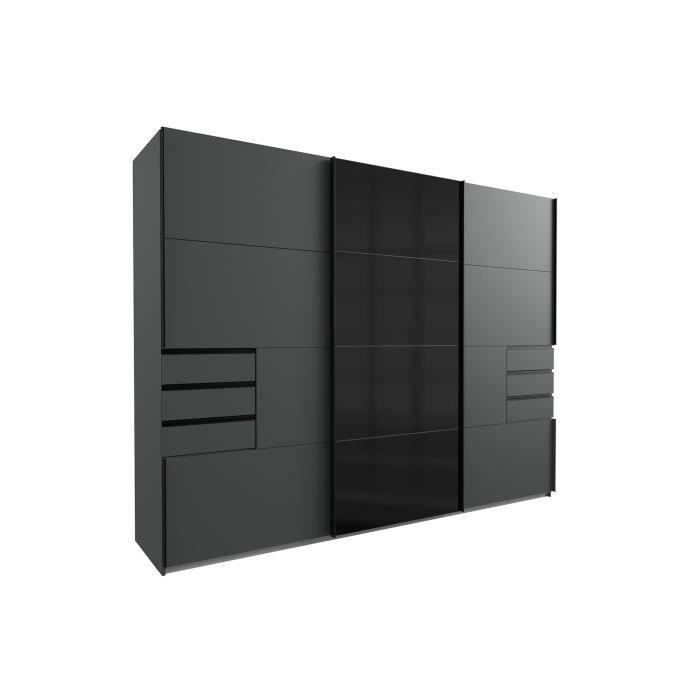 Armoire 3 portes coulissantes 6 tiroirs - Décor graphite et noir - L 270 x P 64 x H 210 cm - SAIGON
