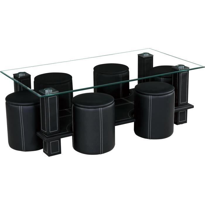 Table Basse 6 Poufs Sixty Coloris Noir Achat Vente Table Basse Table Basse 6 Poufs Sixty Cdiscount