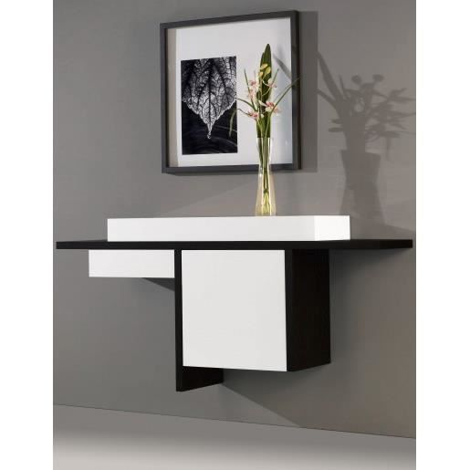 console design murale blanc noir 1p 1t ue achat. Black Bedroom Furniture Sets. Home Design Ideas