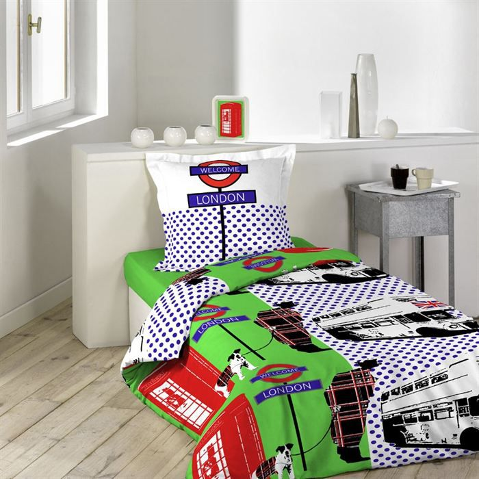 london bus parure de lit 140x200cm achat vente parure de drap cdiscount. Black Bedroom Furniture Sets. Home Design Ideas