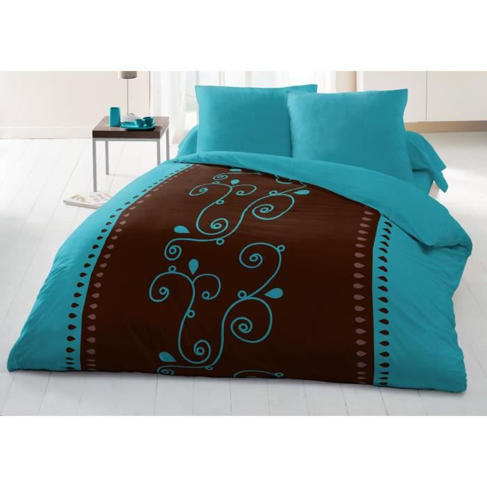 couette imprim e microfibre 220x240 cm cacao turquoise achat vente couette cdiscount. Black Bedroom Furniture Sets. Home Design Ideas