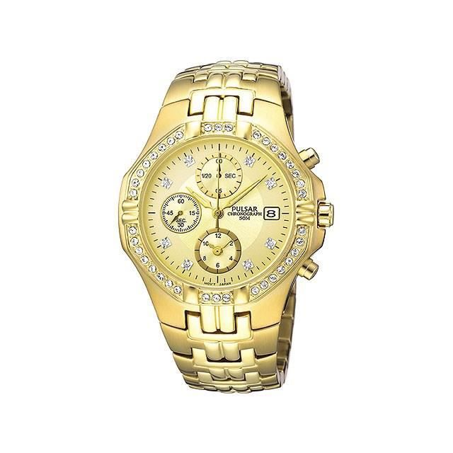 MONTRE Pulsar Chronograph Montre Bracelet Or Plaqué Orné