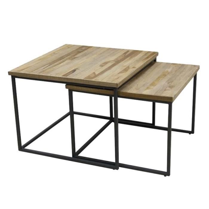 Tables Basses Gigognes Carrees Bois Recycle 60x60x45 Cm Grande
