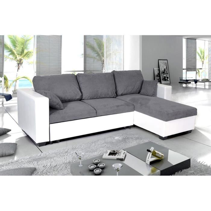 canap d 39 angle convertible r versible pu microfibre blanc gris prissy achat vente canap. Black Bedroom Furniture Sets. Home Design Ideas