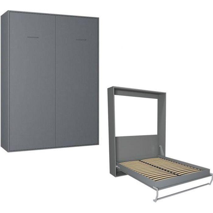 LIT ESCAMOTABLE Armoire lit escamotable SMART-V2 gris graphite mat